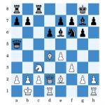 (Bittorf - Lawrenz nach 12.Tfc8) Nach 13.Lxf6? Txc3 gab Weiß auf.