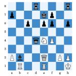 (Kutschke - Gieritz nach 26.De2) Schwarz zog 26...f5? 27.Sg3 und Weiß gewann eine Figur.